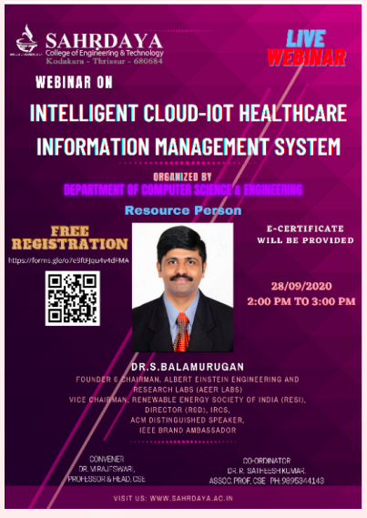 Webinar on Intelligent Cloud- IoT Healthcare Information Management